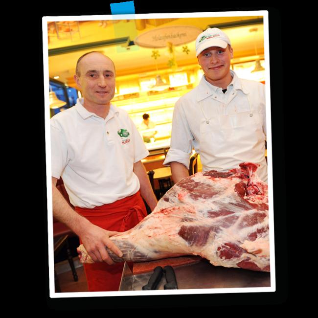 Marcus Weber mit Mitarbeiter bei einem Steakseminar - Fleischerei Nolzen